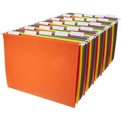2. AmazonBasics 25-Pack Assorted Colors Hanging File Holders