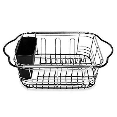 2. Power Brand Expandable Dish Drying Rack with Utensil Holder