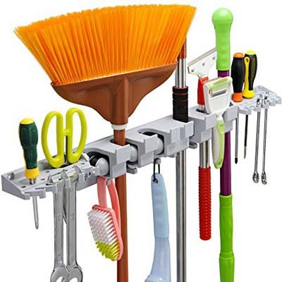 4. Anybest Utility 6 Positions with 6 Hooks Mop and Broom Organizer