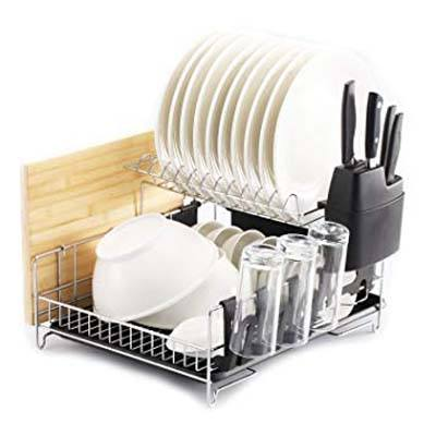 4. Premium Racks Professional Large Capacity Dish Rack (Microfiber Mat Included)