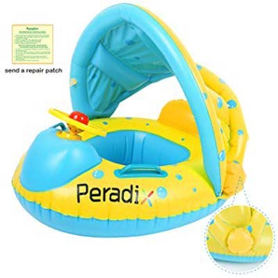 1. Peradix Inflatable Float with Canopy for Toddlers