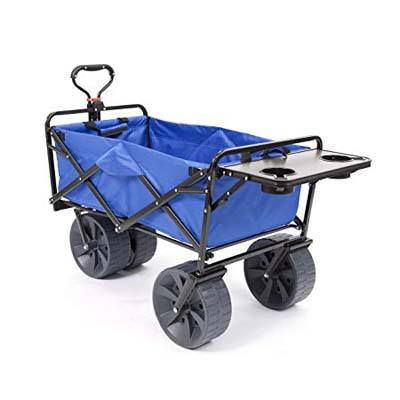8. Mac Sports Heavy Duty Collapsible All-Terrain Wagon Beach with Table-Blue