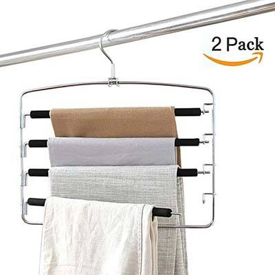 10. Kaleep 2-Pack Multi-Layer Clothes Hangers