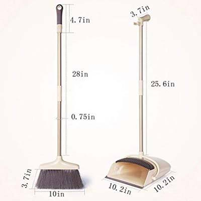 3. Hoga 2-Piece Upright Standing Broom & Dustpan Set