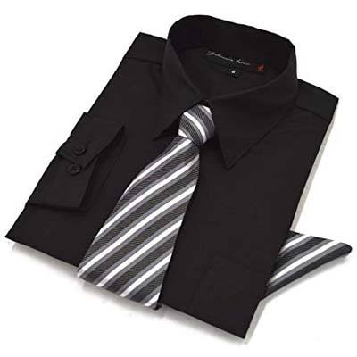 4. Johnnie Lene Long Sleeve Dress Shirt with Tie and Handkerchief