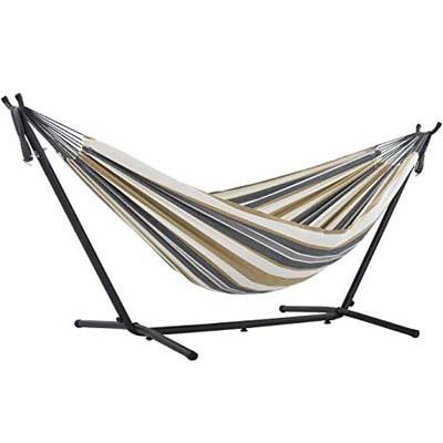 1. Vivere Double Hammock with Space Saving Steel Stand