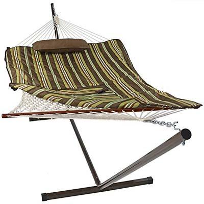 3. Sunnydaze Cotton Rope Hammock with 12 Foot Steel Stand and Spreader Bar