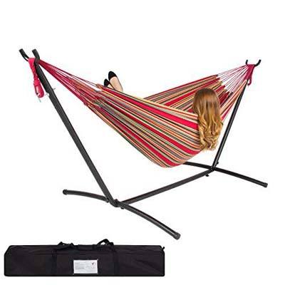 2. Best Choice Products Double Hammock Set w/Steel Stand