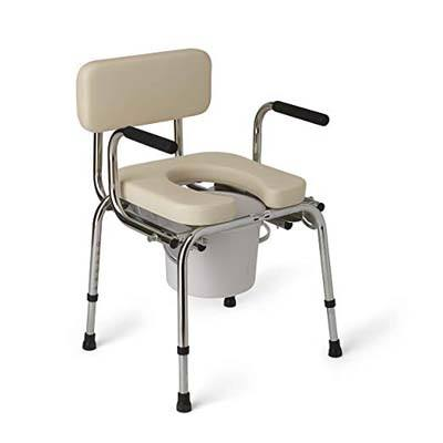 4. Medline Padded Drop-Arm Commode