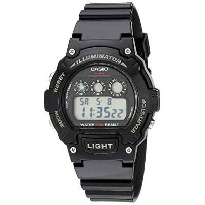 7. Casio Kids Classic Digital Black Watch (W-214HC-1AVCF)