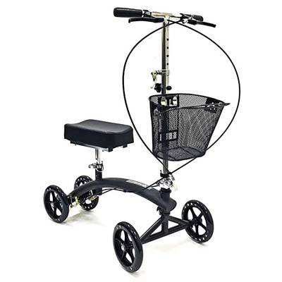 8. BodyMed Folding Knee Scooter with Dual Braking System and Basket