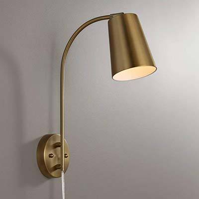6. 360 Lighting Sully Plug-in Wall Lamp – Warm Brass