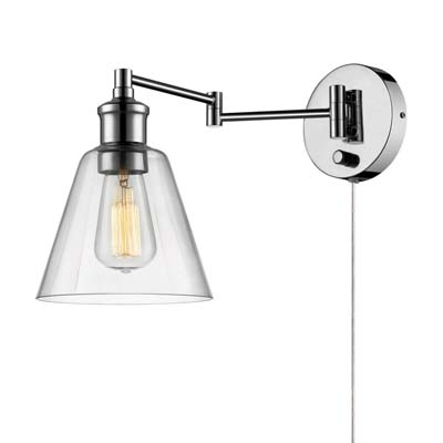 1. Globe Electric 1-Light Plug-in or Hardwire Wall Sconce