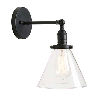 10. Permo 1-Light Wall Lamp with Clear Glass Shade