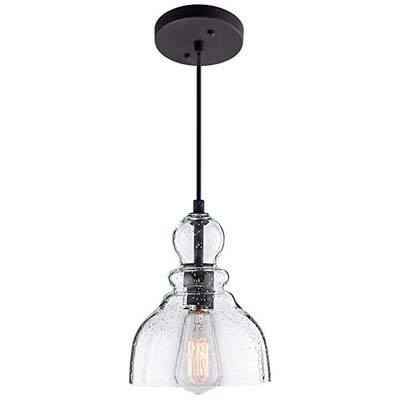 9. Lanros Industrial Mini Pendant Lighting with Clear Glass Shade, 1-Pack