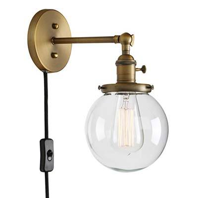 8. Permo 1-Light Plug in Wall Sconce with Mini Glass Shade
