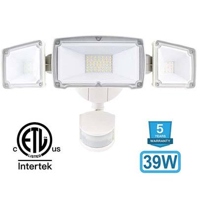 9. Amico 39W 3 Head LED Security-Lights Motion Outdoor