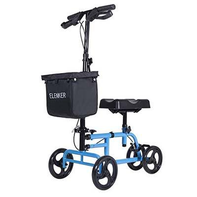 6. ELENKER Steerable Knee Walker with Dual Braking System