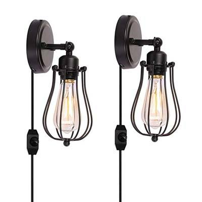 9. Kingmi 2 Pack Industrial Wall Sconce Plug-in (HARDWIRE)