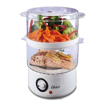2. Oster CKSTSTMD5-W-015 Double Tiered Food Steamer
