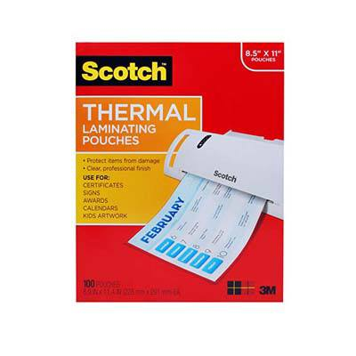 3. Scotch Thermal Laminating Pouches, 8.9 x 11.4-Inches, 3 mil thick (TP3854-100)