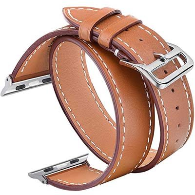 4. V-MORO Genuine Leather Smart Watch Band – Compatible Apple Watch Band 38mm