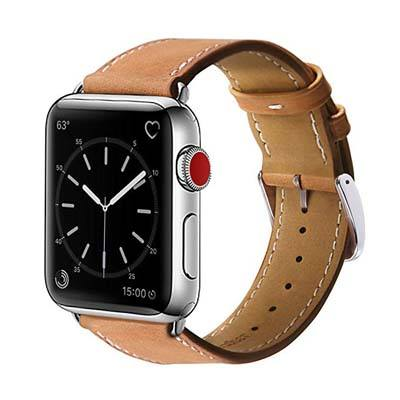 1. MARGE PLUS Genuine Leather Band – Compatible with Apple Watch Band 42mm 44mm