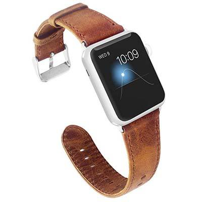 7. KADES Genuine Leather Strap – Compatible for Apple Watch Series 4 44mm & Series 3/2/1 42mm