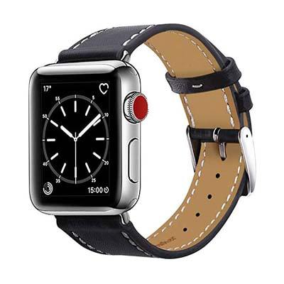 2. MARGE PLUS Genuine Leather Band – Compatible with Apple Watch Band 38mm 40mm