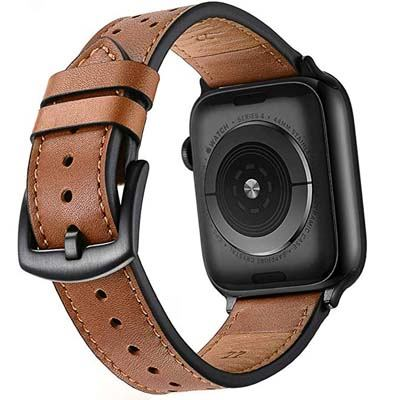 8. Mifa Leather Band Compatible with Apple Watch 4 44mm 42mm