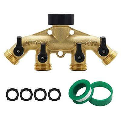 5. Maggift 4-Way Brass Hose Splitter