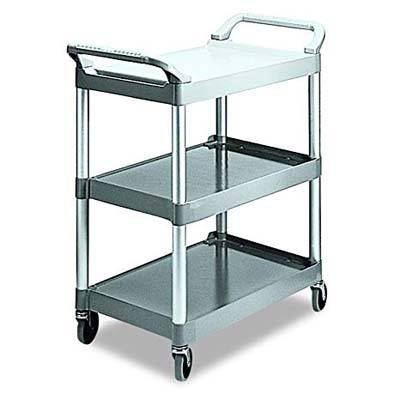 6. Rubbermaid Commercial Products 3-Shelf Rolling Push Cart