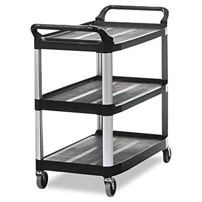 4. Rubbermaid Commercial Products 3-Shelf Rolling Cart (FG409100BLA)
