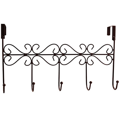 7. Obmwang Over-The-Door 5 Hook Rack