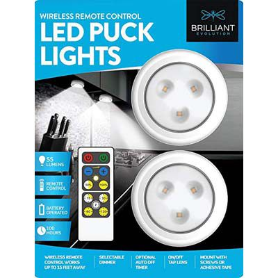 2. Brilliant Evolution Remote Control LED Puck Light, 2 Pack