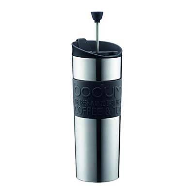 1. Bodum Stainless Steel Travel Coffee Press