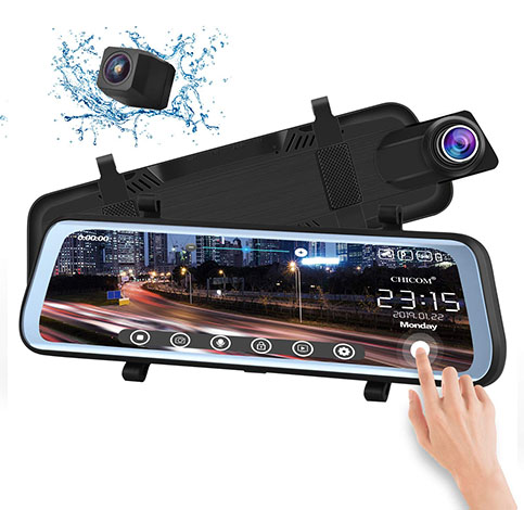 3. CHICOM V21 9.66 inch Mirror Dash Cam