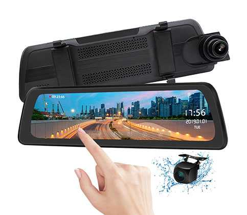 "6. PORMIDO 9.88"" Mirror Dash Cam Backup Camera"