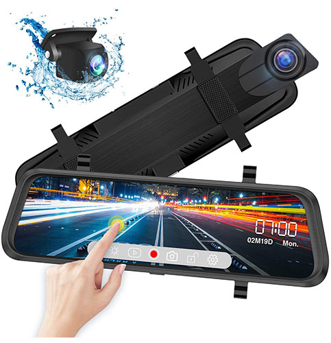 14. iiwey Front and Rear View Mirror Dash Cam