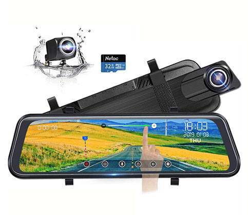 "9. Poaeaon 10"" Full Touch Screen Mirror Dash Cam"