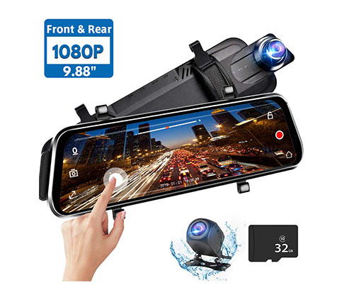 "Featuring Parking Mode 1080p Front Camera with 9.66/"" Touchscreen and Water-Resistant Rear Backup Camera G-Sensor and Loop Recording AUKEY Mirror Dash Cam Black"