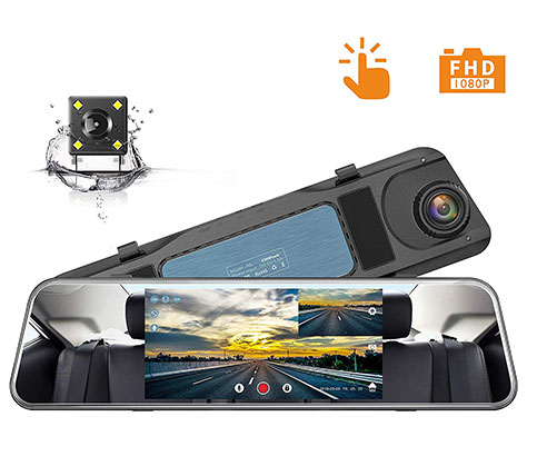 12. Campark 1080P 5 Inch Mirror Dash Cam