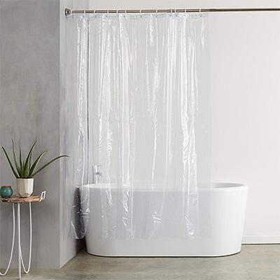 13. AmazonBasics Vinyl Shower Curtain Liner with Hooks