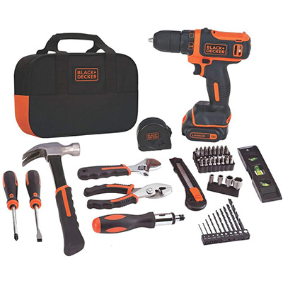 7. BLACK + DECKER 60-Piece 12V MAX Drill & Home Tool Kit