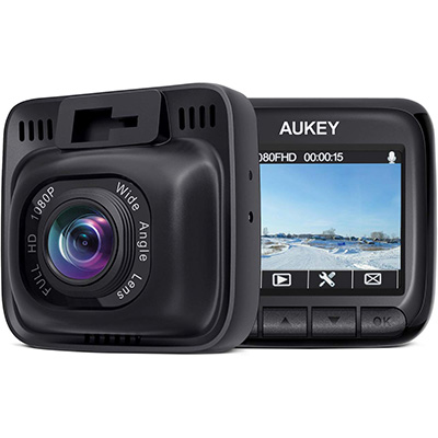 3. AUKEY 170 Degrees Wide Angle Dash Cam for Cars