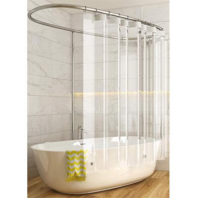 14. Caitlin White 10 Gauge Clear PEVA Shower Curtain Liner