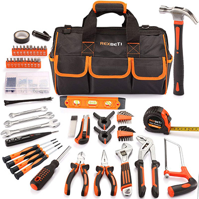 13. REXBETI 169-Piece Tool Kit with 16 inch Tool Bag