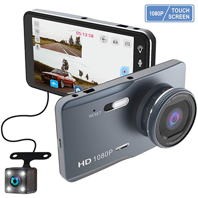 7. ZOMFOM Dash Cam Front and Rear Car Vehicle Camera
