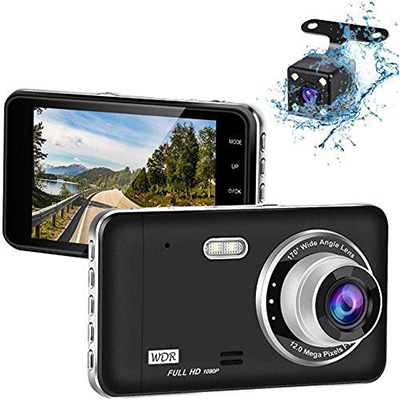 Crosstour Dual Dash Cam Front and Rear FHD 1080P Mini in Car Camera with Parking Monitoring,G-Sensor,WDR,Night Vision Screen Rotation Loop Recording Motion Detection CR600